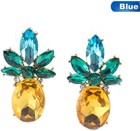 JJLESUN Exquisito Rhinestone Amarillo Verde Piña Stud Pendientes para Las Mujeres Único Cristal Brillante Joyería De Moda