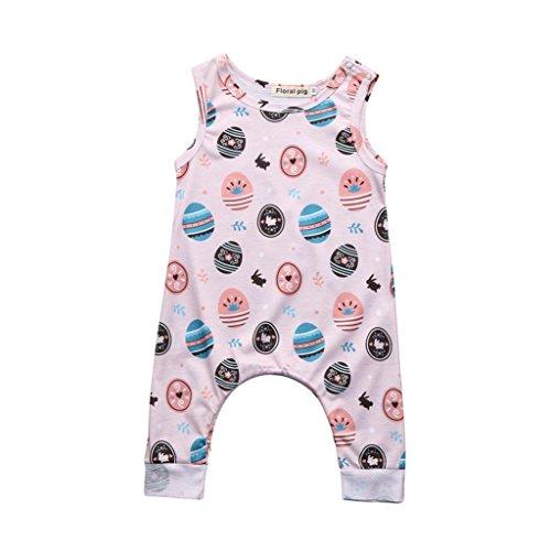 Omiky® Neugeborenen Baby Jungen Mädchen Ostern Eier Cartoon Print Strampler Overall Outfits Weiß