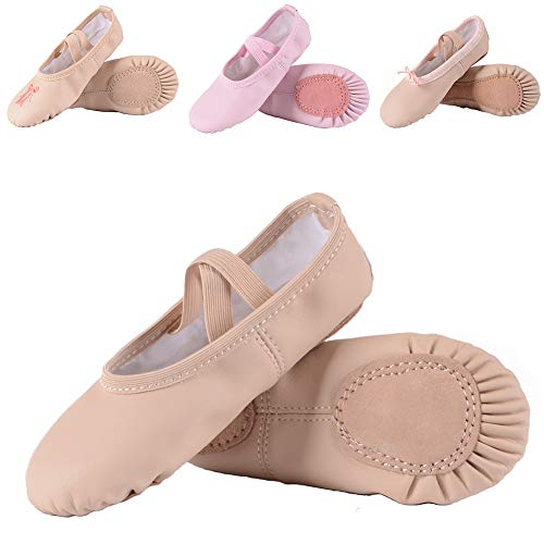 - Leather Ballet Shoes for Girls/Toddlers/Kids, Full Sole Leather Ballet Slippers/Dance Shoes, Pink/Nude