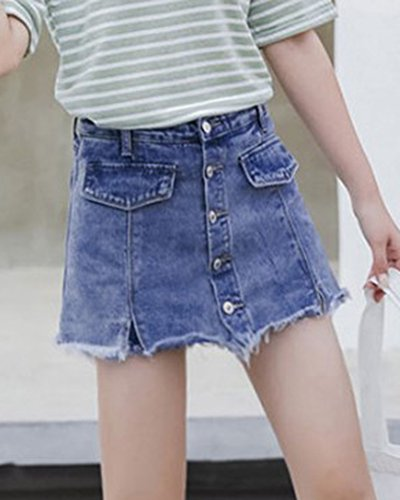 Minigonna Sfrangiata Blu1 Donna In Jeans Denim Gonna qSMpGVULz