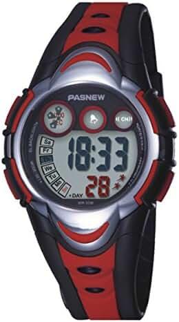 BesWlz Sports Kids LED Digital Alarm Stopwatch Waterproof Wristwatch for Child Boys Girls (Red)