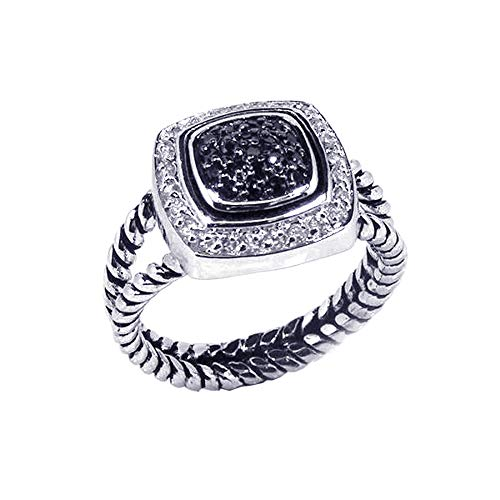 (Double Accent Sterling Silver Rhodium Plated, White & Black CZ Rope Design Band Womens Ring Size 7)