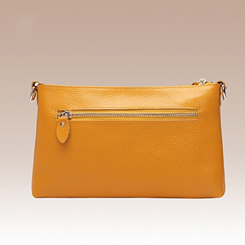 Embossed Large Shoulder Wristlets Clutch Yellow Casual Ladies Bag Bag Wallet Capacity Retro Leather Women's Messenger faXwUdfq