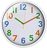 Colorful Kids Wall Clock 12 inch Silent Non Ticking Quality Quartz Battery Operated Wall Clocks, Easy to Read,Large…
