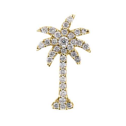 Ct Diamond Palm Tree Pendant with 18