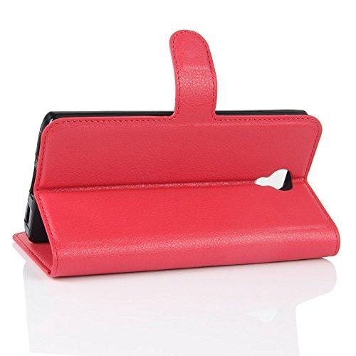 Lusee® PU Caso de cuero sintético Funda para Homtom HT7 / HT7 Pro 5.5 Pulgada Cubierta con funda de silicona violeta rojo