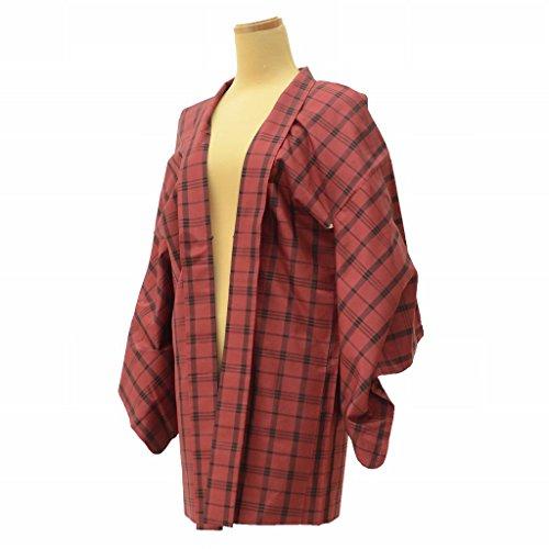 急速なエキスペダル羽織 着物 中古 リサイクル 正絹 大島紬 格子文様 裄64.5cm はおり 赤系 裄Mサイズ ll0389c