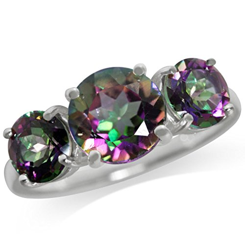 Mystic Topaz 3 Stone Ring - 4.37ct. 3-Stone Mystic Fire Topaz 925 Sterling Silver Ring Size 8
