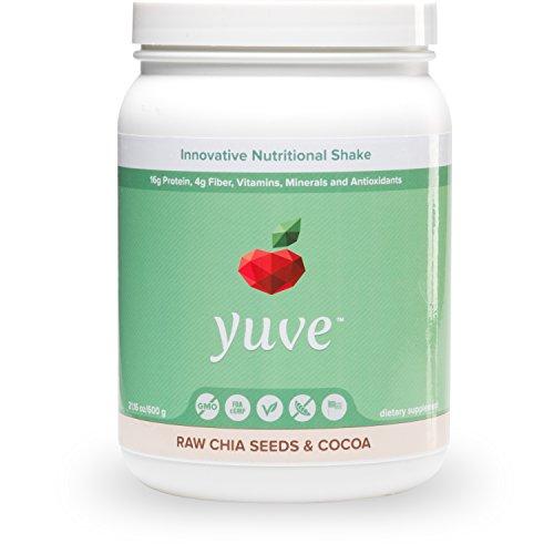 Yuve - votado mejor degustación vegana proteínas en polvo, 25 + súper de alimentos, las semillas de chía crudas y sabor cacao, 15 porciones, 21,16 oz. Planta de base, no-GMO, lactosa, soja gratis *** proteína de guisantes y arroz