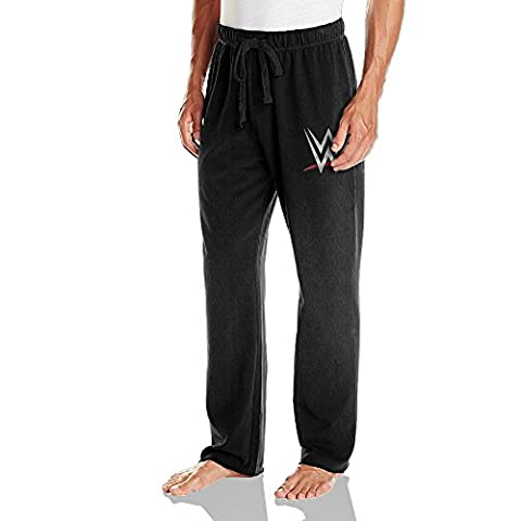 WWE Championship Mens Drawstring Jersey Sweatpants Black (John Cena Pants Belt)