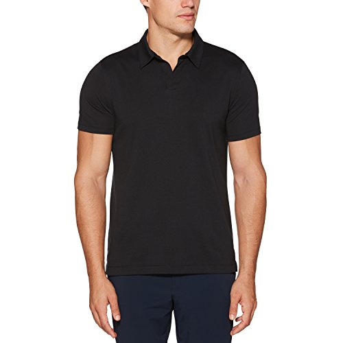 Perry Ellis Men's Stretch Pima Open Polo, Black, Medium