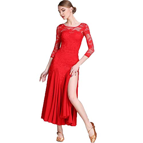 WESEAZON 2019 Latin Dance Dress red lace Fiber Salsa Ballet Skirt Professional Dancers Costume 1920s Party Dress Gatsby Theme Prom S M L,XXL for $<!--$142.49-->