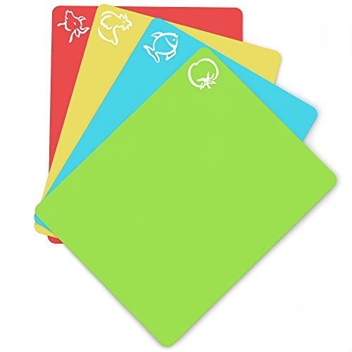 Extra Thick Flexible Plastic Cutting Board Mats With Food Icons &''EZ-Grip'' Waffle Back, 4 packs by Cooler Kitchen (Image #5)