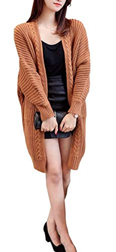 Maglia Khaki Tasche Monocromo Anteriori Ragazza Lunga Maglioni Maglie Cappotto Elegante Moda A Autunno Casual Abbigliamento Manica Donna Basic Lunghi Cardigan nnxHgf