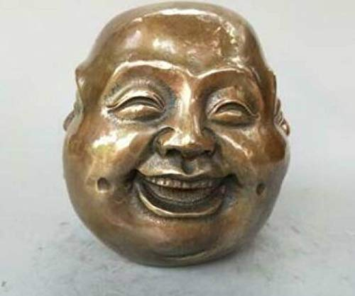 ANARUTO Sculpture Chinese Bronze Carving 4 Face Buddha Happy Angry Sad Pleasure Head Bust Statue