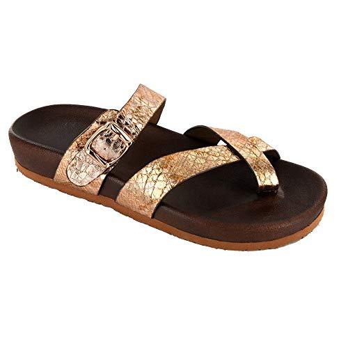 Corkys Womens Santa Ana Slip On Criss Cross Sandal (Gold Snake, 9)