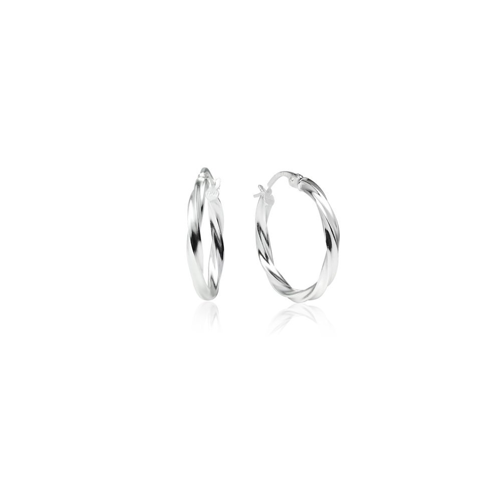 LOVVE Sterling Silver High Polished Twist Round Click-Top Hoop Earrings, All Sizes 2x15mm US_B074B4LX51