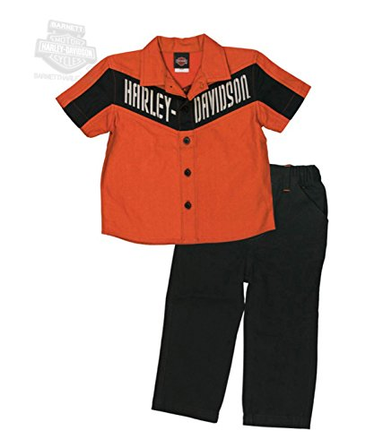 Harley-Davidson Baby Boys 2 Piece Twill Shop Shirt & Woven Pant Set (24M)