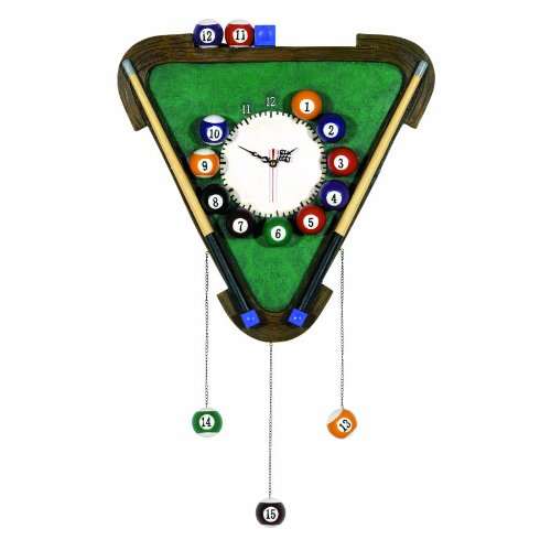 RAM Gameroom Products Pub Sign with Clock, Billiards