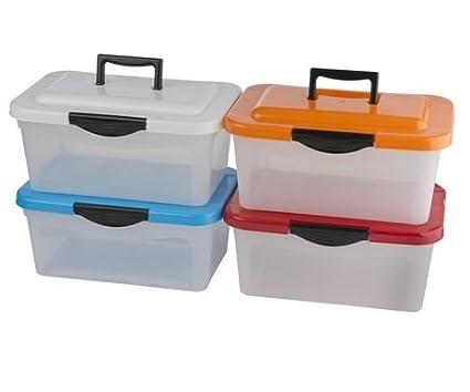 4 x Caja de almacenaje Caja de plástico con tapa y asa apilable Caja de almacenamiento