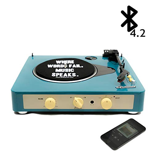 (Gadhouse Brad Vintage Record Player 3-Speed Turntable Built in Bluetooth, Stereo Speakers, Headphone Jack, Aux Input for Smartphone, RCA Line Out Jacks (Retro Green))