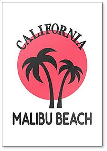 - Malibu Beach California LA Los Angeles Palm Trees Sunset Fridge Magnet