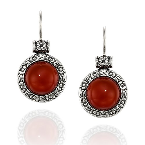 Antique Style Round Carnelian Gemstone Earrings with Ornate Floral Design and Secure Backs