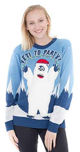 Yeti to Party Abominable Snowman Light up Blue Ugly Christmas Sweater (Adult Large) ()