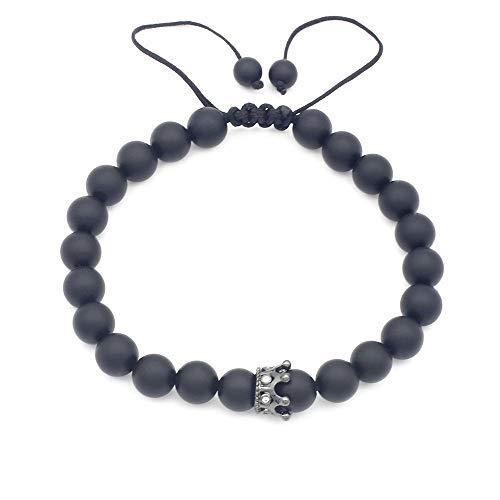 Liudaye Matte Black Agate Micro-Inlaid Tiara Bracelet for Men and Women Gifts ()