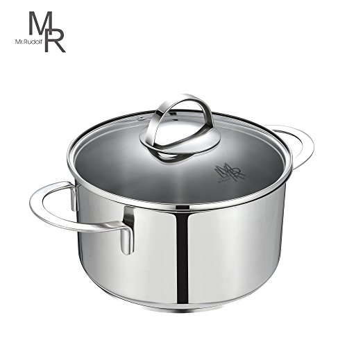 Mr. Rudolf 3 Quart Dutch Oven Saucepan 18/10 Stainless Steel 2 Handle Saucepan with Glass Lid Dishwasher Safe PFOA Free Casserole Sauce Pot 20cm 3 Liter (Glass Steel Casserole)