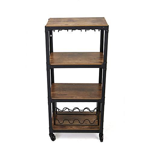 - Mind Reader Mobile Kitchen Cart with Wine Rack and Stemware Storage, Black