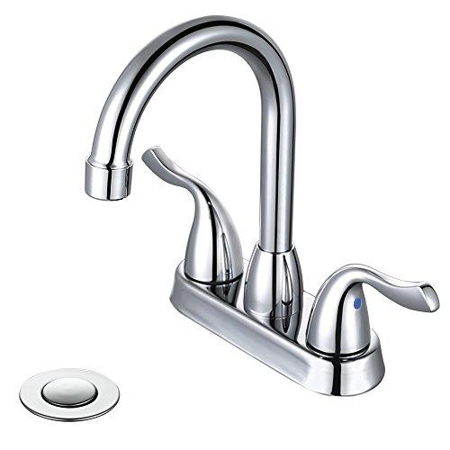 Hole Vanity Faucet (Desfau High Bathroom Faucet Bathroom Faucets Chrome, 3 Hole High Arc Bathroom Faucet 4 Inch, Two Handle Bathroom Vanity Faucet with Metal lavatory drain assembly)