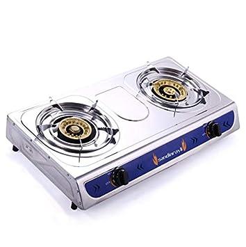 Cypressshop - Estufa de Gas propano portátil con Cabezales de Quemador Doble para cocinar a Gas o cocinar: Amazon.es: Hogar