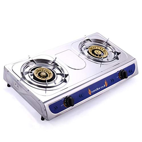 Cypressshop Portable Propane Gas Stove Dual Burner Heads Emegency Double Gas Cooking Camping Cooker Hose Regulator
