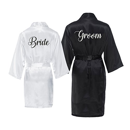 Groom Bath Bride - Bride and Groom Satin Robe Set Black, White