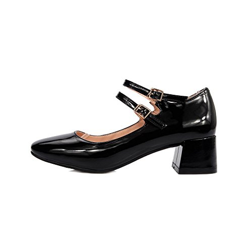 AmoonyFashion Womens Solid Patent Leather Kitten Heels Buckle Square Closed Toe Pumps-Shoes Black twZ7lsB