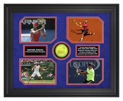 Grand Slam Framed Photo - Rafael Nadal Autographed Tennis Ball w/Grand Slam Photos - Framed - Autographed Tennis Ball Shadowboxes