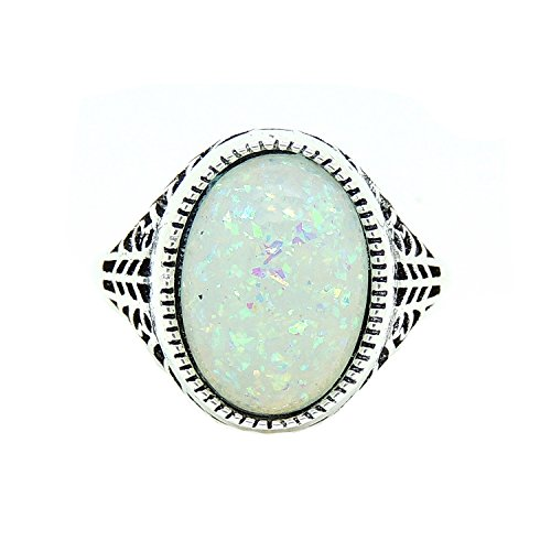 Filigree Ring Setting - Ginger Lyne Collection Chandler Lab Created Fire Opal Filigree Setting Ring