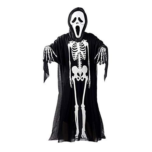 Skull Skeleton Ghost Cosplay Costume Adults Kids Halloween Carnival Masquerade Fancy Dress Clothes+Skull Devil Mask+Gloves ()