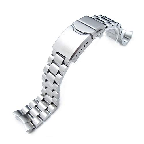 22mm Solid 316L Stainless Steel Endmill Watch Bracelet for SEIKO SKX007, Button ()