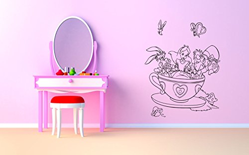 Wall Vinyl Sticker Alice in Wonderland Cheshire Cat Queen Of Heart White Rabbit Caterpillar Duchess Wall Vinyl Sticker Quote Phrase Fairy Tale Cartoon Character Girl Boy Nursery Kids Room Decor SA1640