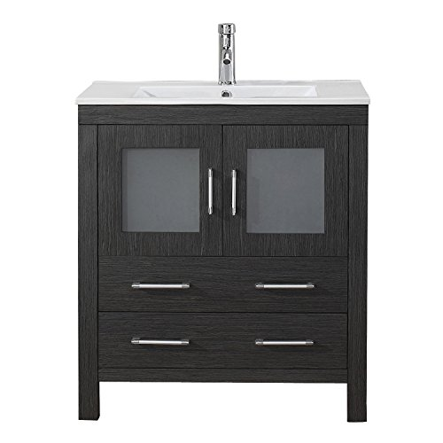 Virtu Usa Ks 70030 C Zg 001 Dior 30  Single Bathroom Vanity With White Ceramic Top And Square Sink With Brushed Nickel Faucet And Mirror  Zebra Grey