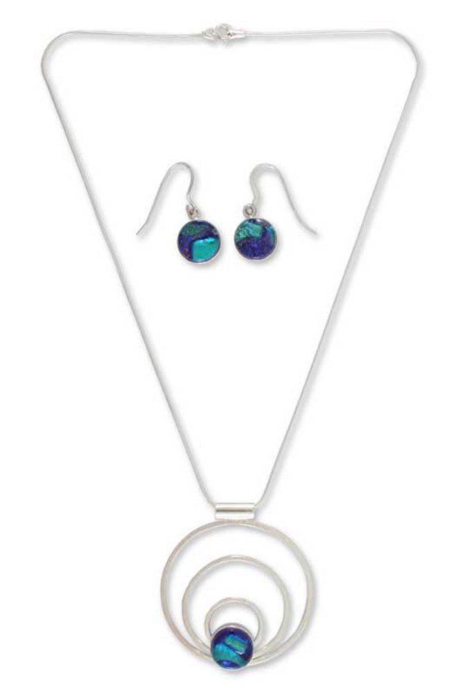 NOVICA .925 Sterling Silver Glass Jewelry Set 'Spirit of the Lake'