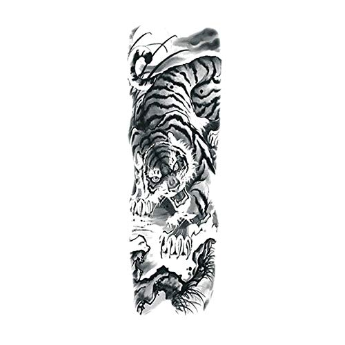 Large Arm Sleeve Tattoo Sketch Lion Tiger Waterproof Temporary Tattoo Sticker Wild Animal Men Bird Totem Tattoo,A07