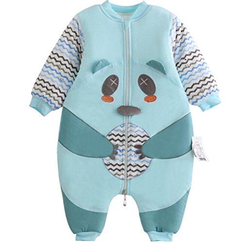 Baby Sleep Bag Kids Winter Thick Cotton Bear Zip Up Lovely Cartoon Walker Sleeper Sleesuit Bunting Bag 3-12 Months Blue
