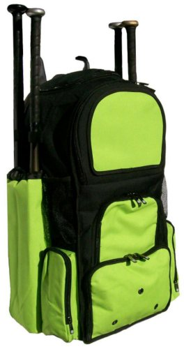Black and Lime Green Chita II (L) Adult Softball Baseball Bat Equipment Backpack by MAXOPS