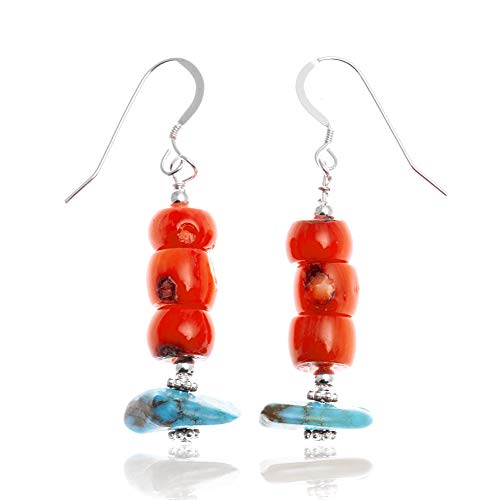 $80Tag Turquoise Coral Silver Hooks Certified Navajo Native Dangle Earrings 18294-14 Made By Loma Siiva