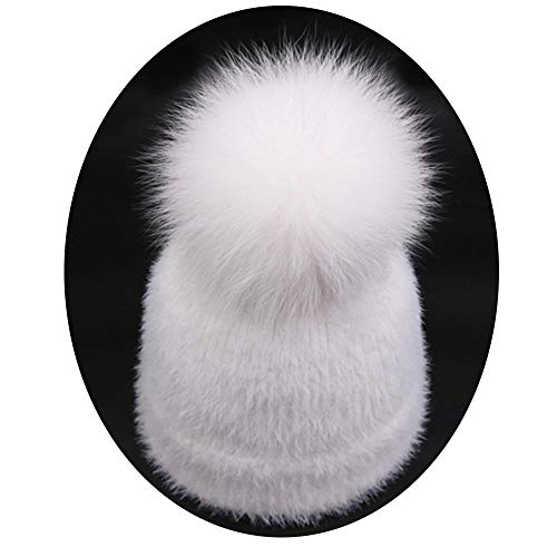 (YoungG-3D Winter Imitation Mink Fur Women Beanies Hats Knitted Skullies Caps with Real Fox Fur Ball Warm Hat White - Fox Fur Kids (1 to 6 Years))