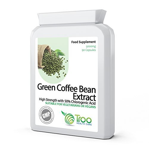 Green Coffee Extract 5000mg 90 Vegetarian Capsules - Weight Loss, Diet & Slimming Support Supplement Using Raw, Unroasted Green Coffee Beans. UK GMP Manufactured by Troo Health Care