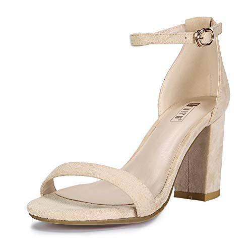 IDIFU Women's IN3 Cookie-MI Open Toe Mid Block Heel Dress Pump Sandal (Nude Suede, 11 B(M) US) ()